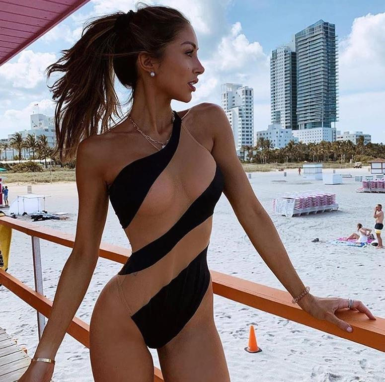 Yeni Stil Kadın One Piece Bikini yastıklı Mayo Yıkanma Mayo Plaj parça bikini Çizgili Skinny 2020 Bir Omuz Moda Şınav Çekme
