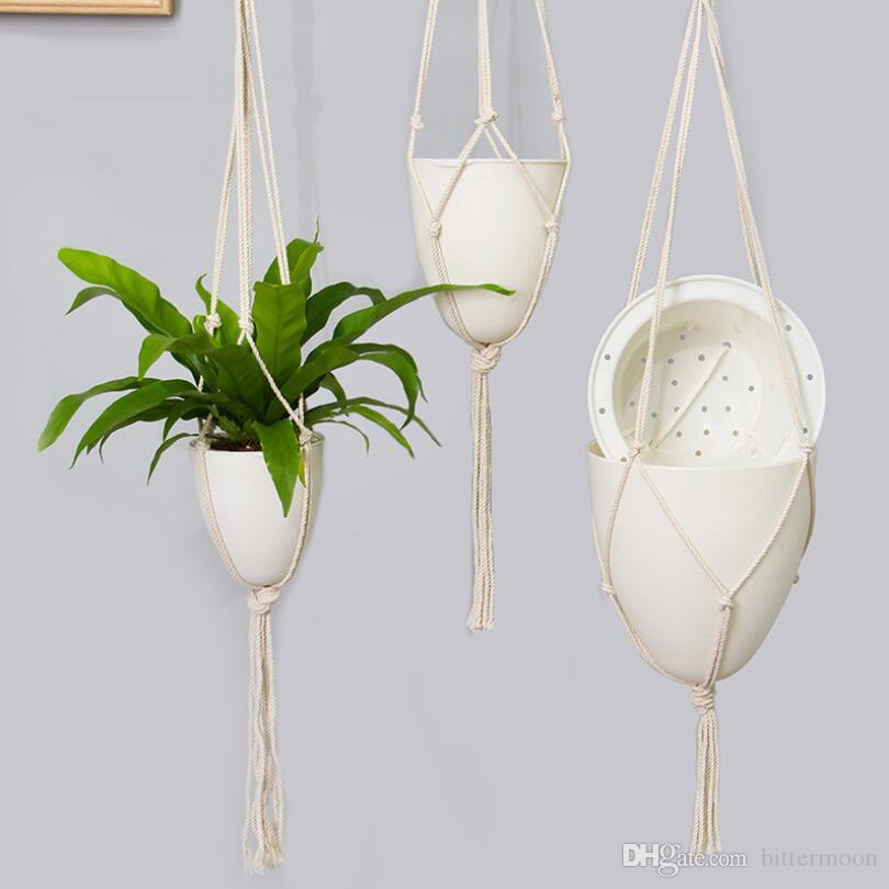 Self Watering Hanging Flower Pots Automatic Water Absorption Egg Shape Hydroponics Flower Hanging Planter with Cotton Rope European Style