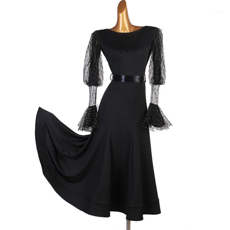 Etapa desgaste negro salón de baile vestidos de baile waltz vestido franja estándar de encaje brillante trajes de manga larga rumba long1