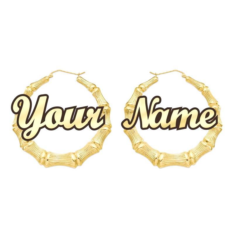 تخصيص تخصيص الأقراط مخصصة اسم أقراط الخيزران الاسلوب مع بيان الكلمات
