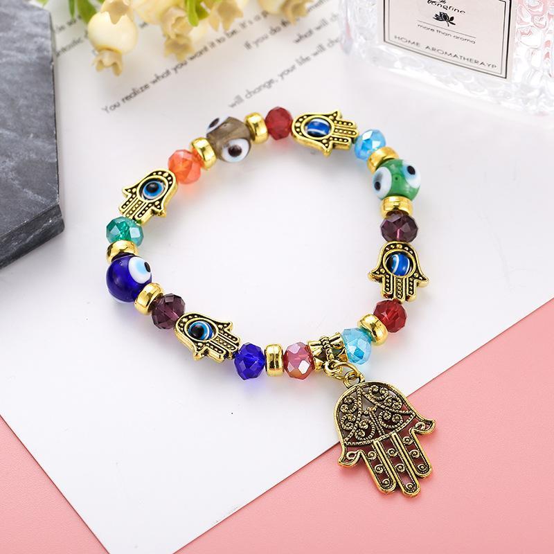 Explosion des modèles yeux bleus turcs bracelet de perles bijoux émaillés à la main musulmane Fatima paume oeil du mal