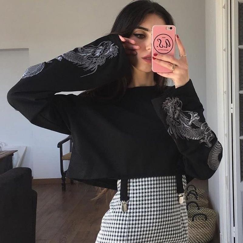 Baskılı Kol Günlük Stil Boyut S-L toptan ile Tasarımcı Bayan Kapüşonlular Yeni Geliş Marka fleeces Bayan Moda Kısa Hoody