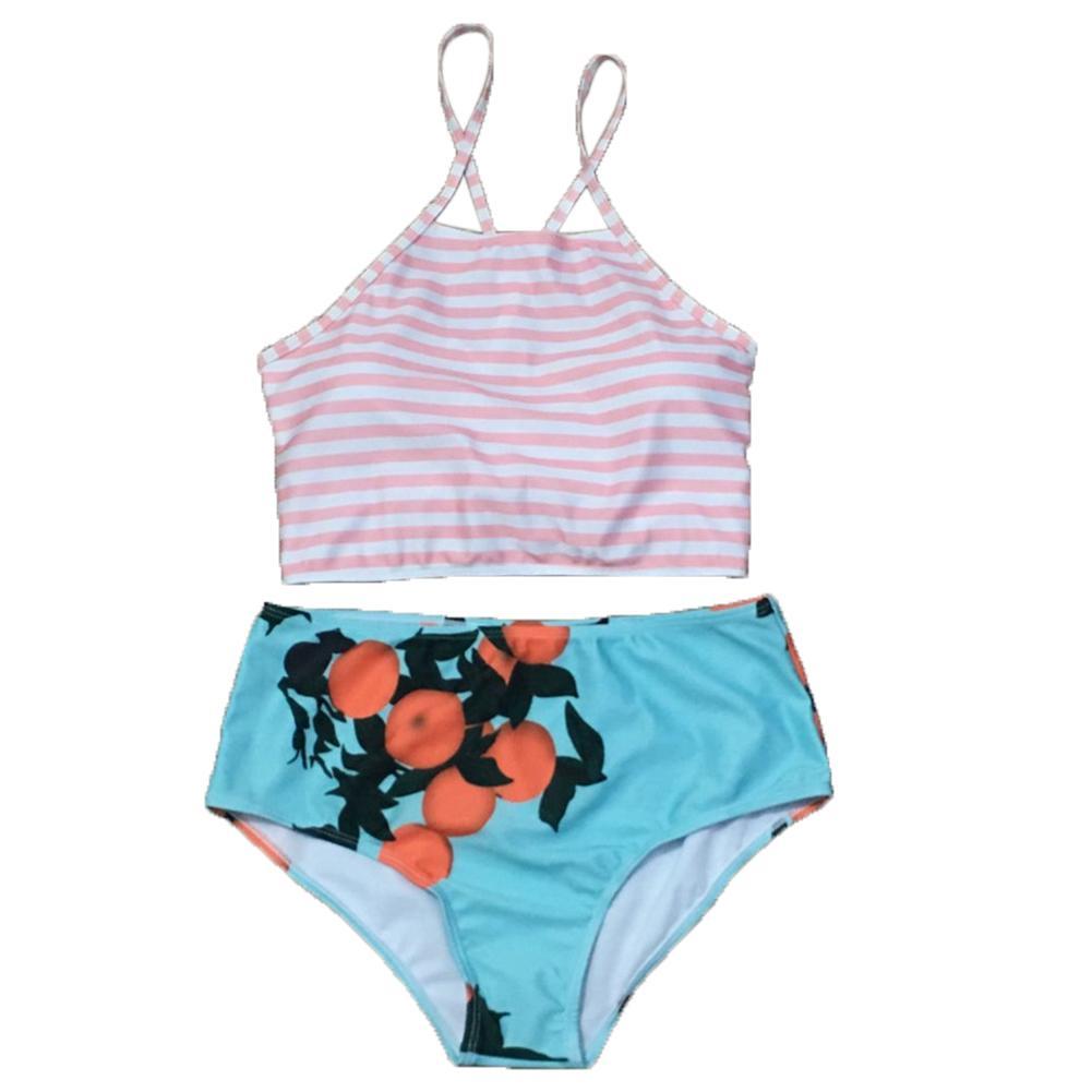 النساء البرتقالي مخطط الرسن بيكيني أعلى ارتفاع الخصر الأزهار أسفل ملابس السباحة بحر لا دعم الصلب مبطن