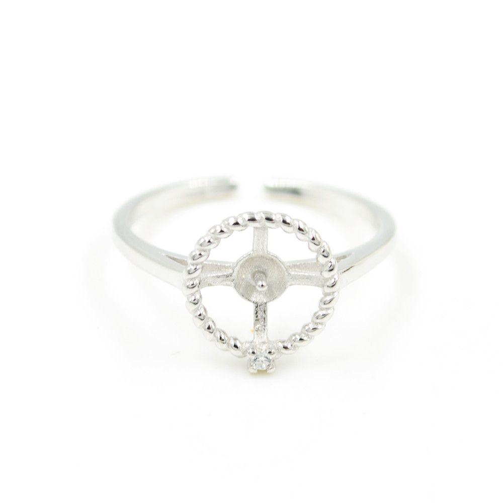 Оптовая продажа S925 стерлингового серебра кольцо монтажное круглое кольцо крепления для женщин жемчужные украшения diy бесплатная доставка регулируемое открывающее кольцо