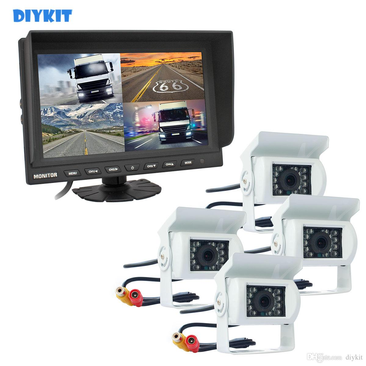 """DIYKIT 9"""" Split Quad Display Rear View Monitor di sostegno dell'automobile monitor + 4 x CCD IR di visione notturna posteriore Sistema obiettivo Vista da auto per auto camion autobus"""