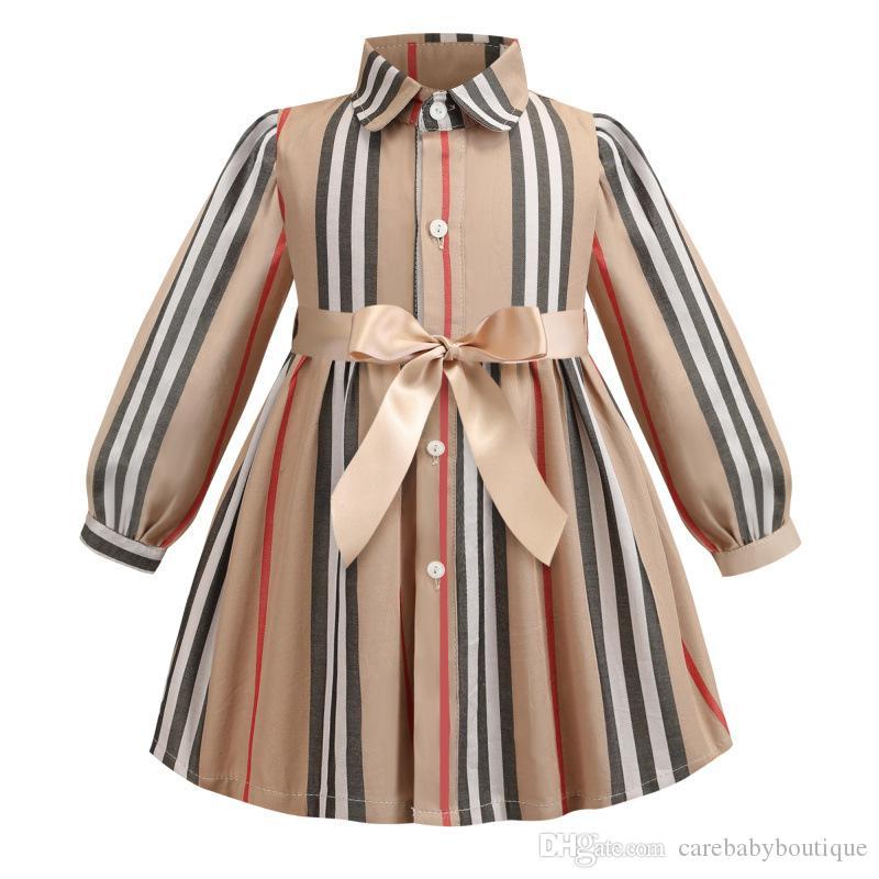 Meninas verão vestido de manga curta Turn Down gola alta qualidade Stripped vestido de roupa da menina