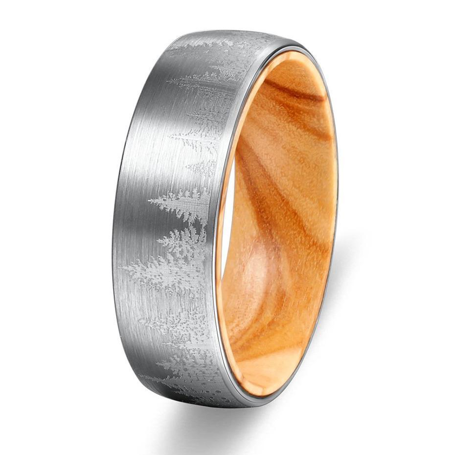 Mens Paisagem Tungsten Anel lased Floresta Carvort 8 milímetros escovado Wedding Band com Oliver Wood luva CX200608