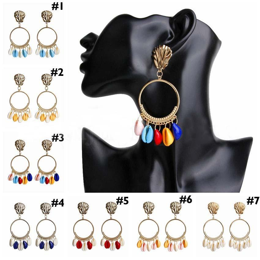 Seashell Earrings 7 Colors Big Circle Dangle Earrings for Women Alloy Sea Shell Ear Stud Summer Pendant Earring
