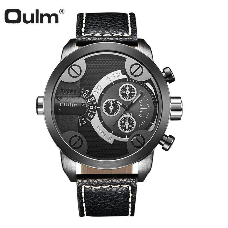 OULM Fashion Sport Watch Men Quartz Analog Clock Dual Time Display Red Leather Strap Boyfriend Wrist Watches relogio masculino