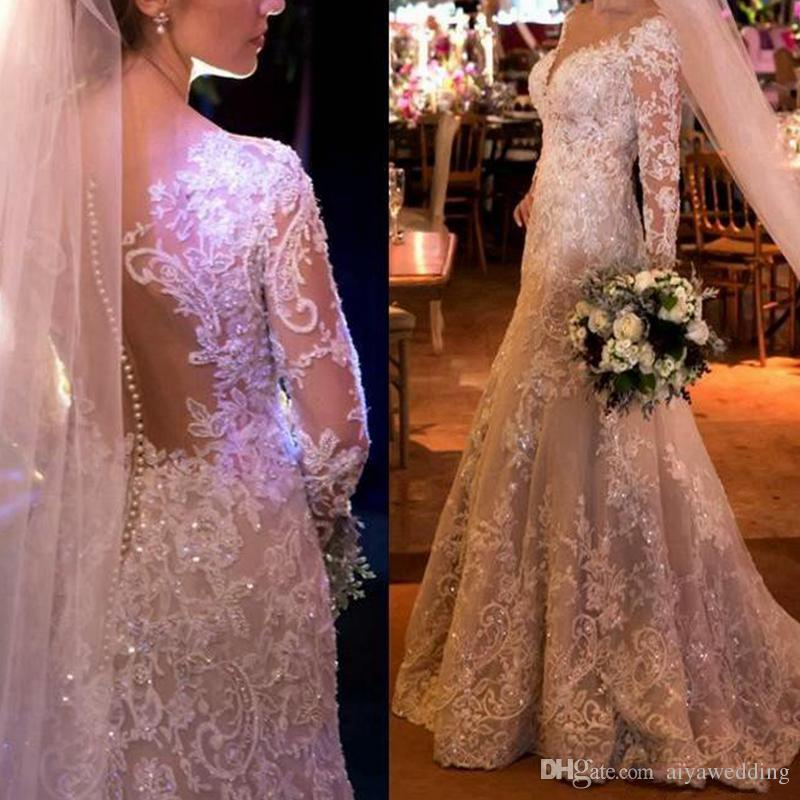 2020 Vintage Mermaid Lace Wedding Dresses With Appliques Sequins Long Sleeves Wedding Gowns Sweep Train Covered Buttons Bridal Dress