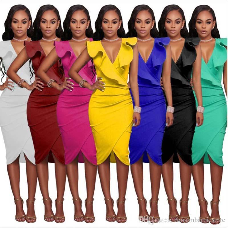 Sexy V Neck Sheer Frill Ruffle Wrap Mini Bodycon Deep V Solid Summer Short Sleeve Formal Evening Party Club Dress