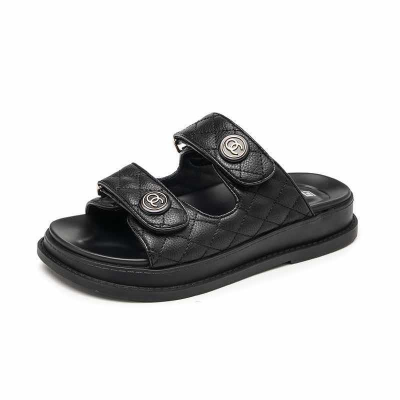 2020 Yaz Burun Kalın Düz Katı Pu Casual Kız Plaj Kadın Floplar Bayanlar ayakkabı Bayan Siyah Kahverengi 34-40 L25 # 357 Kadın Sandalet Ayakkabı