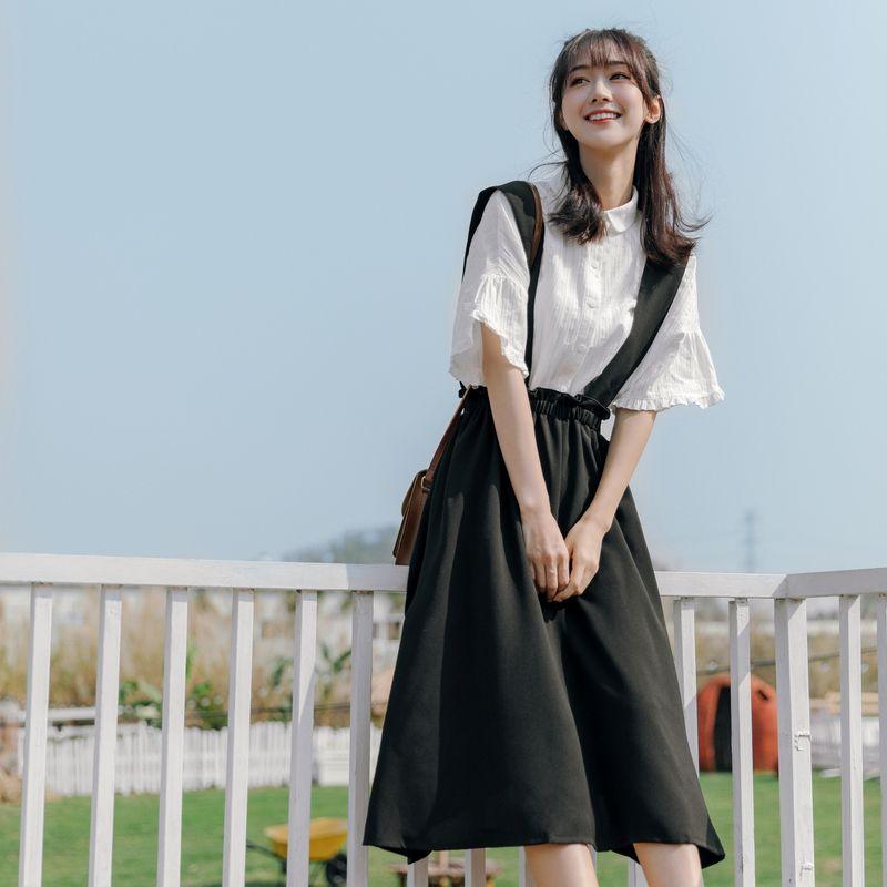 2020 Summer Women Vintage Mori Girl Long Suspenders Straps Braces Skirt School Girl Preppy Style A-line High Waist Pleated Skirt