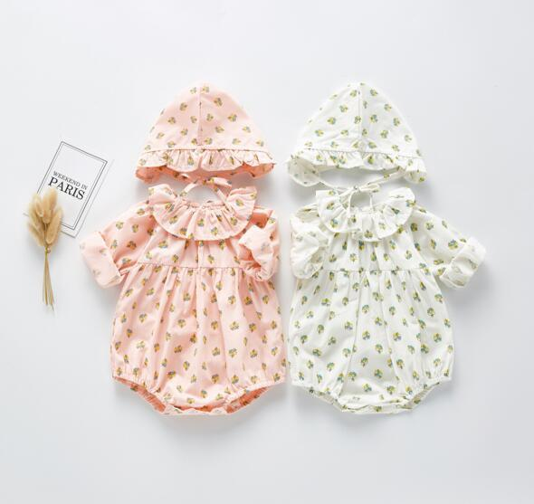ملابس INS الربيع طفلة رومبير كم طويل زهرة كاملة طباعة الكشكشة الياقة رومبير + قبعة 100٪ القطن فتاة طفل الملابس 0-2T