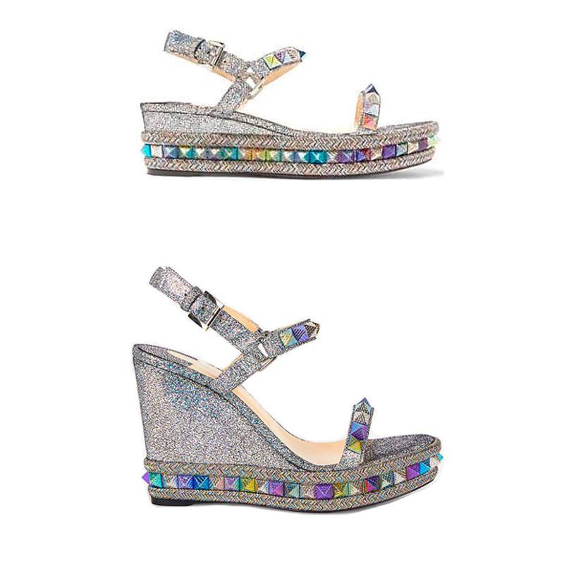 Эспадрильи клина сандалии Red Bottom Женщины высокой пятки платформы обувь лето Роскошные серебряные блестки покрытым кожаные туфли 25 Цвет