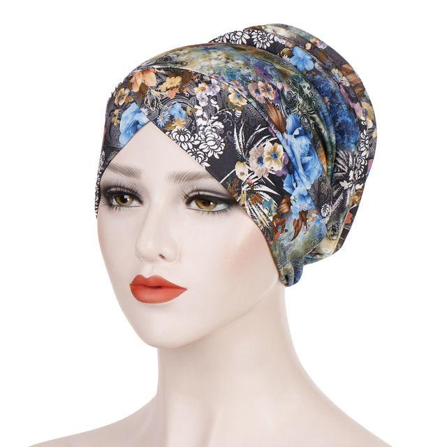 Turbante muçulmano por Mulheres Cotton Hijab Islâmica cachecol Hat Mulheres Impresso Esponja Cabeça Lady Cabelo Acessórios 7 cores