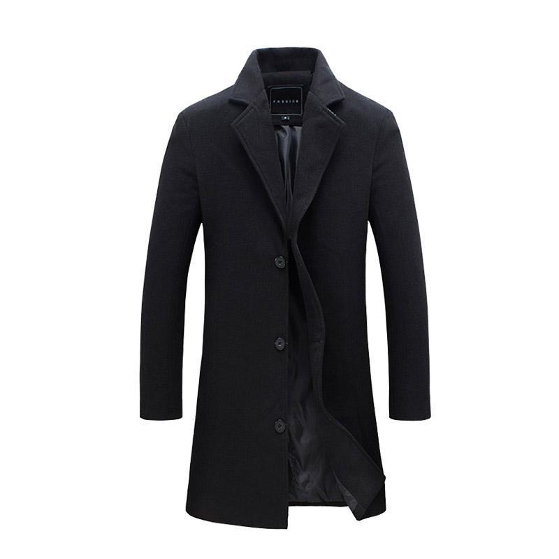 Uomini moda Giacche Uomo Slim Adatto cappotti Affari Mens Lungo Inverno antivento Outwears Plus Size 5XL nero vendita calda vestiti di alta qualità