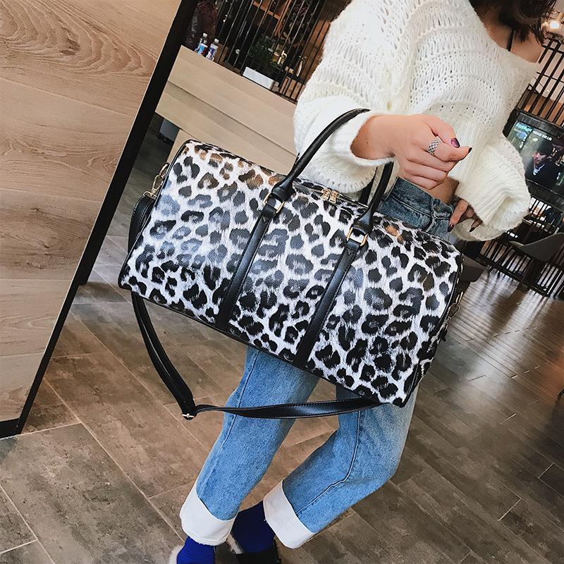 Large-Capacity Bag Women's New Fashion Leopard Shoulder Chain Big Bag Handbag