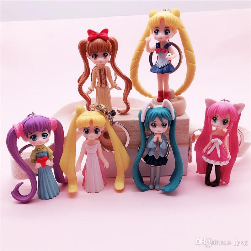 6 estilo animado de Sailor Moon Figura Llavero lindo de la historieta 3D de Cosplay clave de PVC cadena del sostenedor del anillo partido de los cabritos de la baratija Clave regalo