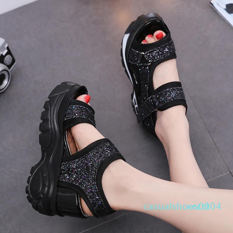 El nuevo estilo de las mujeres de las sandalias de las señoras acuña los zapatos de la boca pescados de la manera sandalias de fondo grueso Deporte mujeres ocasionales zapatos c04