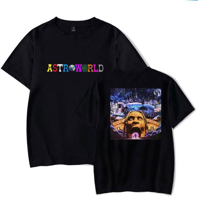 Astroworld T-SHIRT ترافيس سكوت T شيرت المحملة كم قصير تي شيرت الهيب هوب Astroworld الأسود المحملة تي شيرت حجم S-3XL