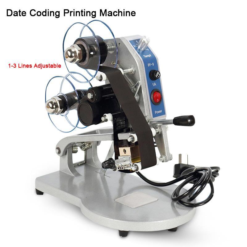 Máquina de codificação de data Impressoras de código de data de expiração de validade, codificador de selo de folls quentes, máquina de expiração