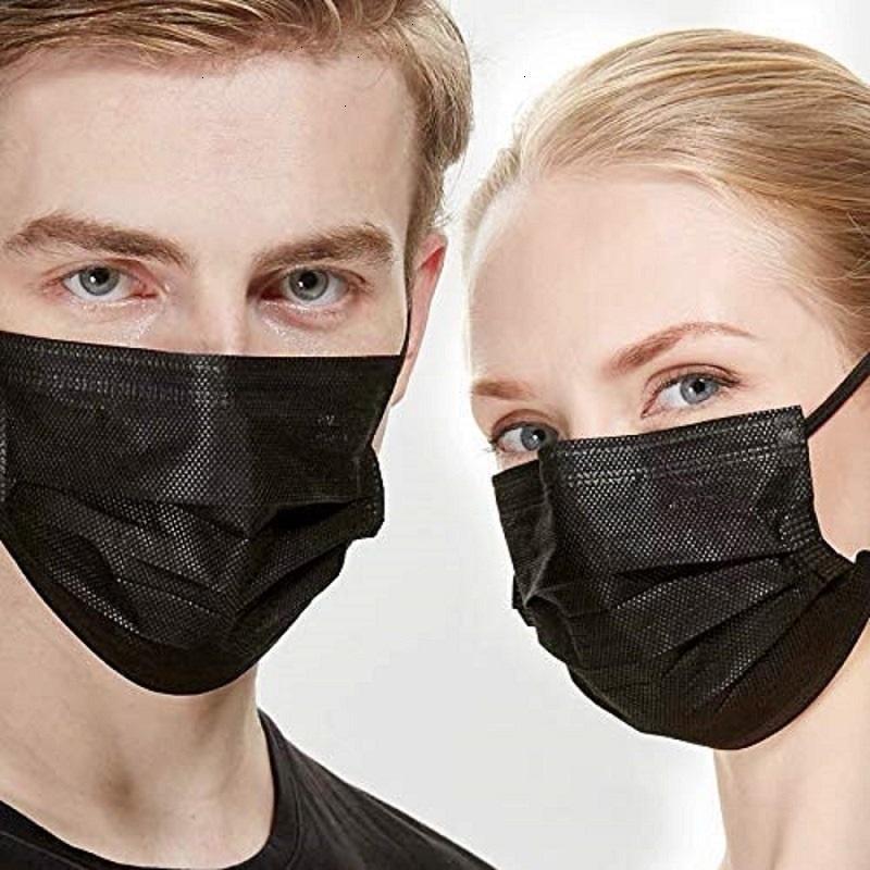 1000pcs PM2,5 3 plis à usage unique Nonwoven Masques noirs visage bouche Protection respiratoire unisexe Tissu masque poussière