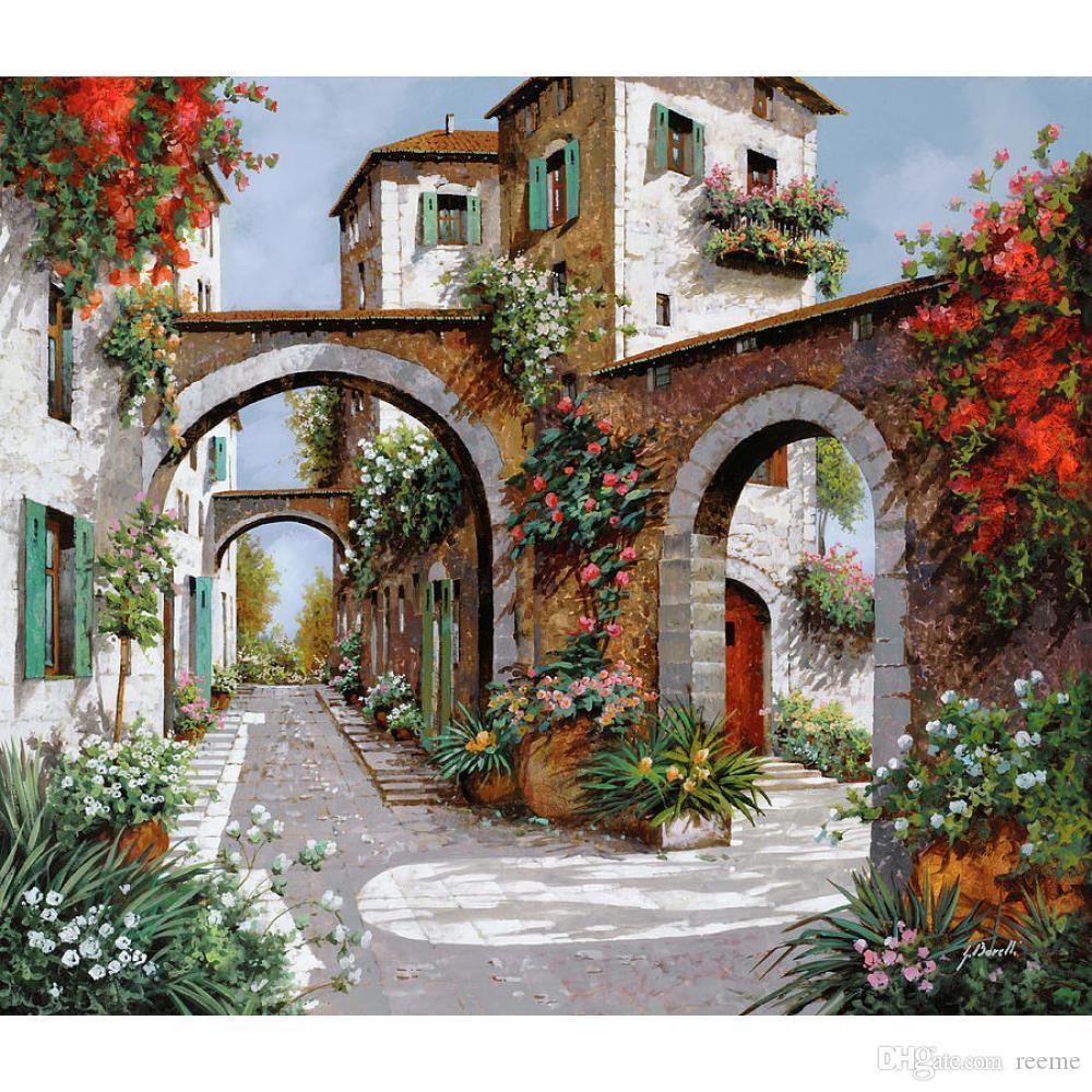 Acheter Peintures Mediterraneenne Main Art Paysages Tre Archi Jardin Peinture A Lhuile Pour La Decoration Murale De 86 87 Du Reeme Dhgate Com