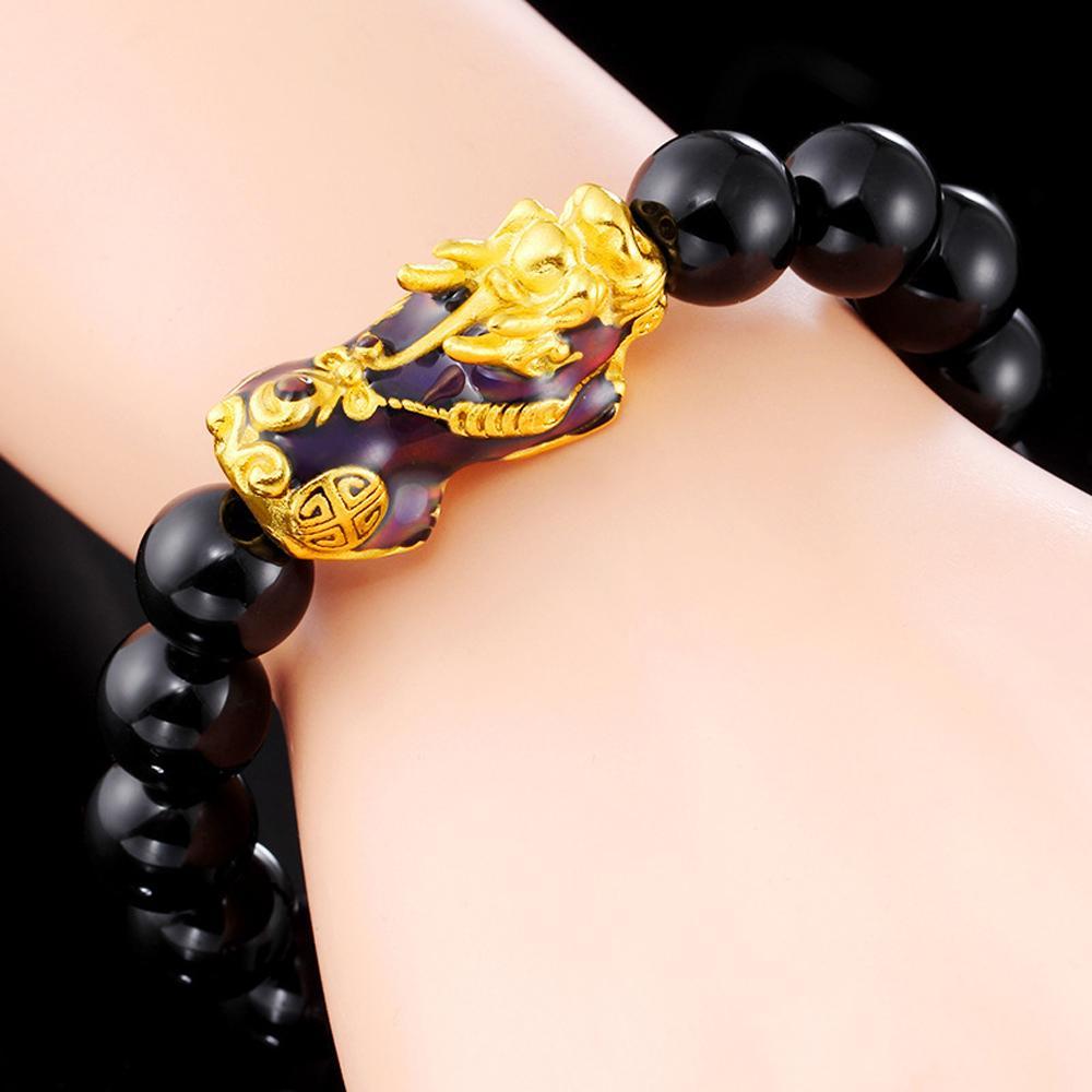 Pulsera de cuentas Natural Negro Obsidiana pulsera de oro plateado Color Change Pixiu Transferencia encantos animal para hombres y mujeres