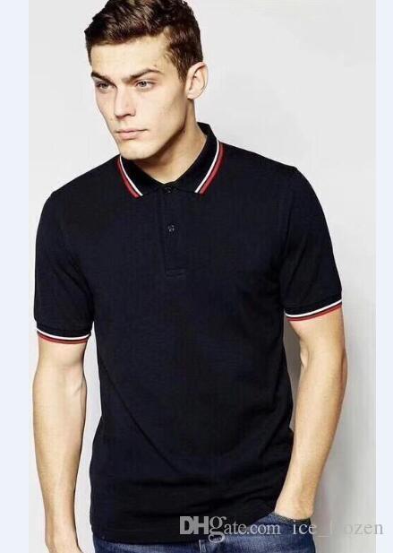 Londra estate degli uomini del 100% cotone casual Polo Foglia Inghilterra Business Man T-shirt Maglie a manica corta T Londra Brit Polo Nero Bianco