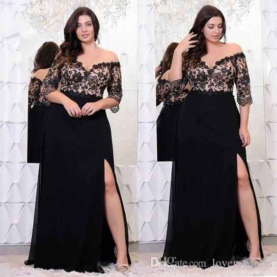 Black Off Shoulder Lace Plus Size Evening Dress Prom Dresses Long 2020 With Sleeves Side Split Formal Dress Gowns Special Occasion Custom