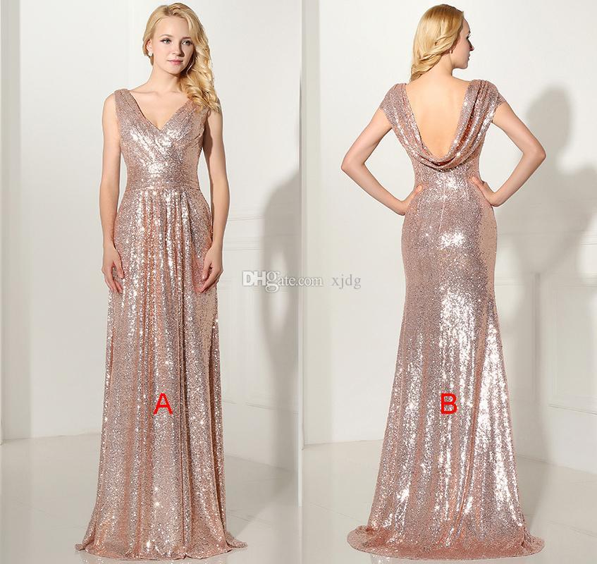 Bling brillante de vestidos de dama de 2020 una línea completa de las lentejuelas de oro rosa Nueva barato de longitud de Prom Vestidos sin espalda Country Beach Vestidos de fiesta
