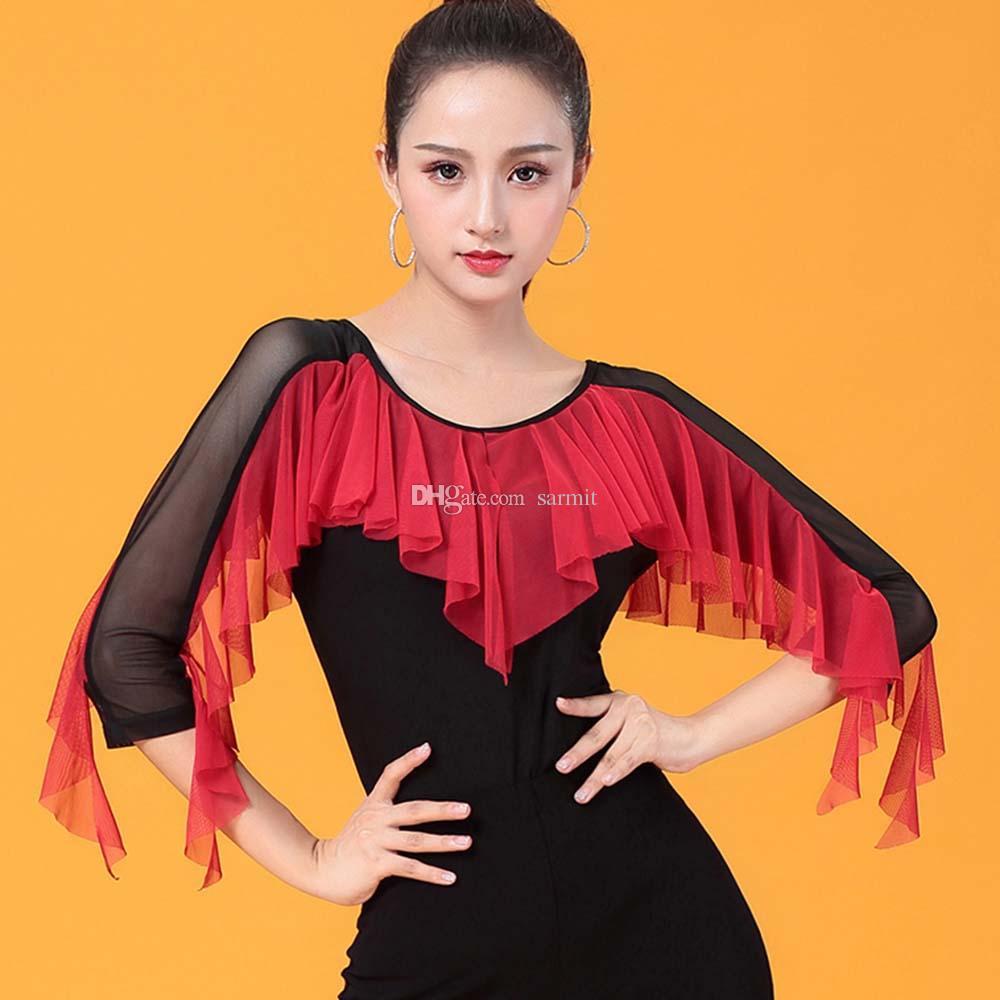 قمصان قاعة الرقص اللاتينية النساء الرقص الأعلى لرقص التانغو السالسا هامش الرقص اللاتينية الرقص D0960 مع الكشكشة