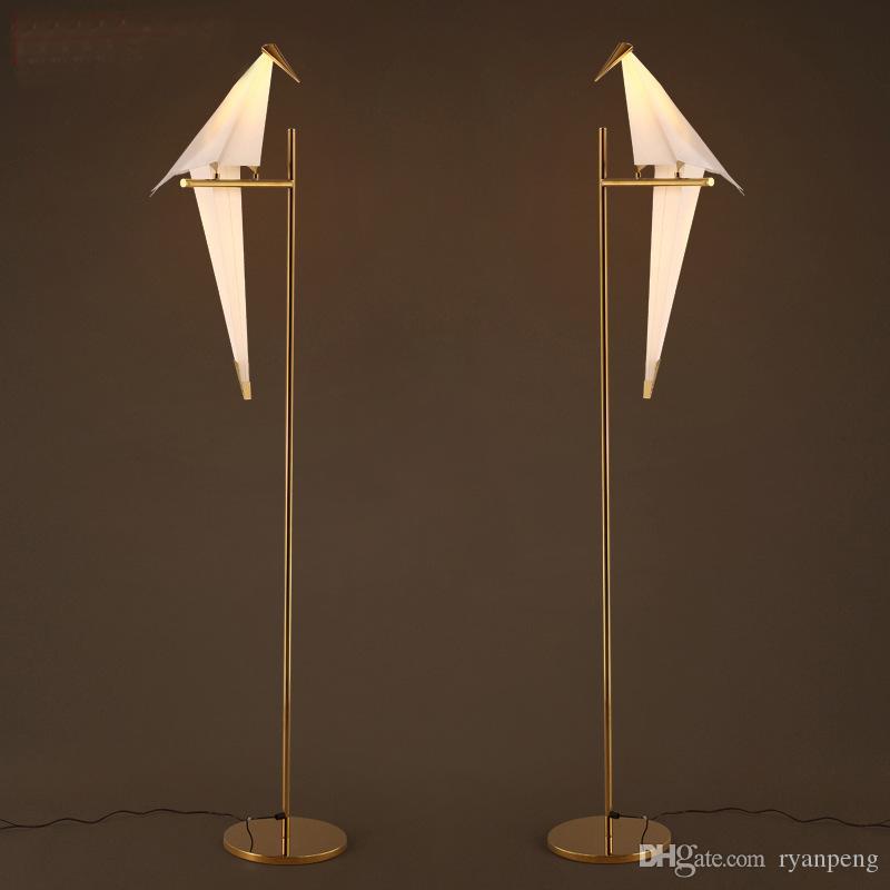 Art Deco Vogel Papier Stehlampe Schlafzimmer Studio Wohnzimmer Lampenfuß Origami Licht Study Nachtlesetischlampe Gold-Boden