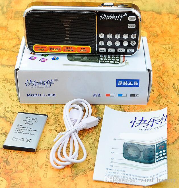 velhos alto-falante portátil L-088 Speaker MP3 Audio Music Player Rádio FM Alto-falante com lanterna USB AUX TF slot
