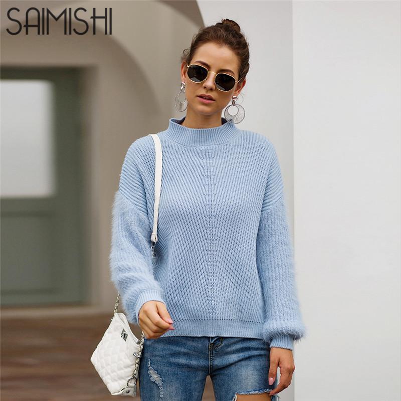 Saimishi de manga larga de punto de mohair suéteres de las mujeres del invierno del otoño con capucha de las señoras del O-cuello flojo ocasional del color sólido puente Negro