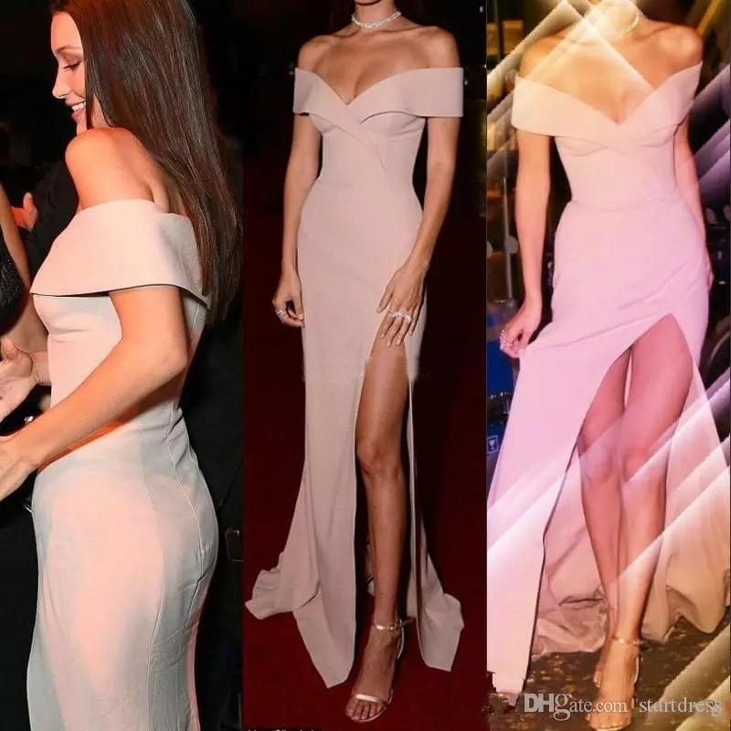 Seksi Yüksek Yan Bölünmüş Pembe Gelinlik Modelleri Basit Kapalı Omuz Kılıf Kat-uzunluk İndirim Ucuz Parti Elbise Akşam Uzun Vestidos Arapça Giymek