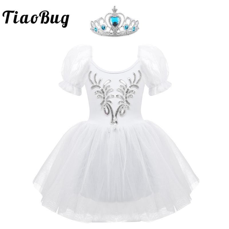 TiaoBug Crianças curto Puff mangas lantejoulas malha Ballet vestido Tutu com coroa Headband Costume Palco Set Dancewear Meninas