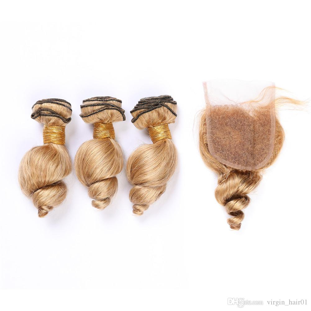 Honey Blonde Loose Wave Human Hair Lace Closure 4x4 with Bundles #27 Light Brown Wavy Peruvian Virgin Hair Weaves 3Bundles with Closure