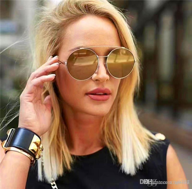 Donne Design Design Sunglasses Ultra-Light Metal Round Frame Fashion Popular Summer Simple Style Top Quality UV 400 Lente SG 7048