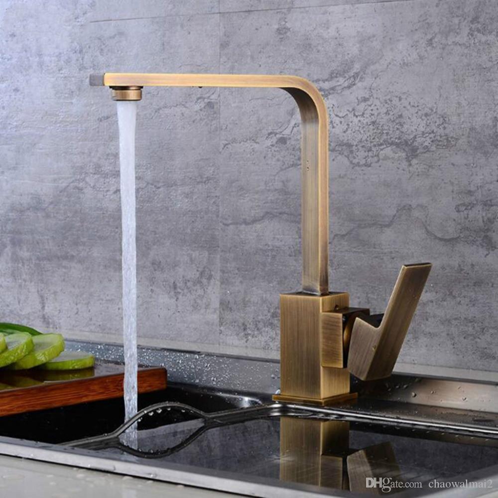 صنابير المطبخ النحاس بالوعة المطبخ صنبور الماء 360 تدوير قطب صنبور العتيقة برونزية خلاط واحد حامل ثقب واحد