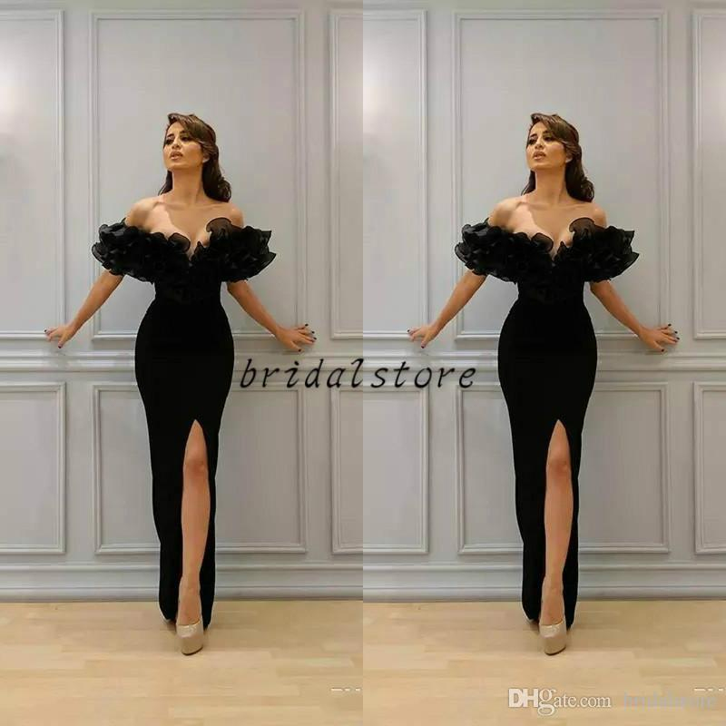 paolo sebastian Black Mermaid Prom Dresses Tight Sexy off Shoulders Ruffles Front Split Elegant Formal Evening Gowns Gothic Plain Party Usa