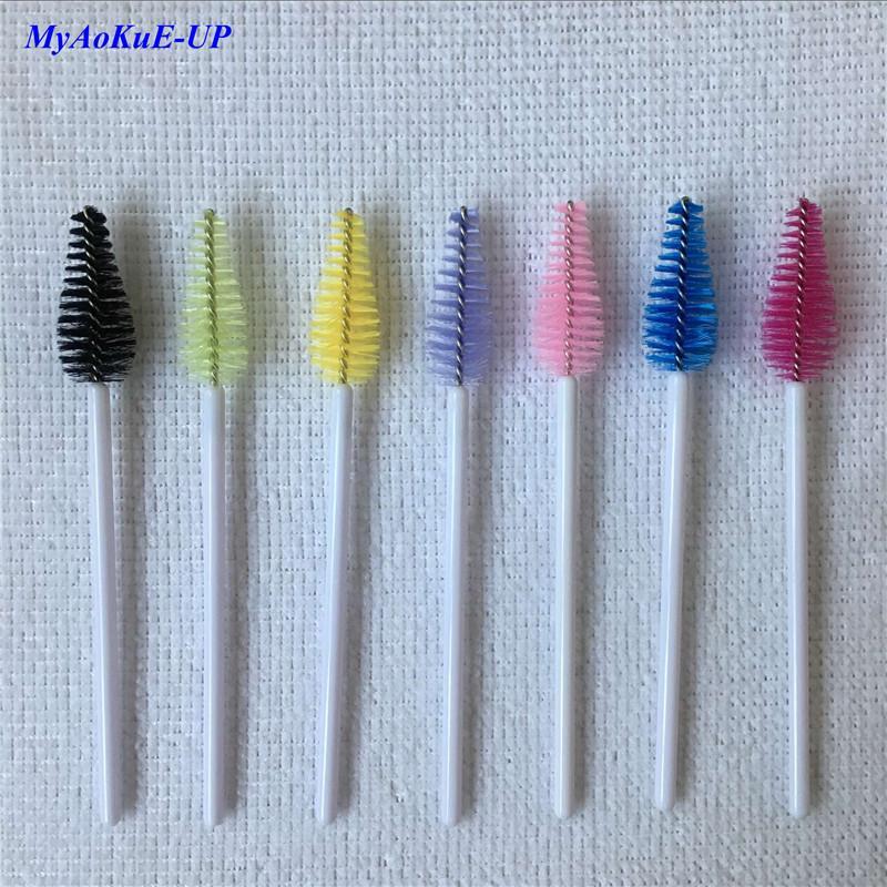 200pcs superiore di nylon della mascara delle bacchette Bianco maniglia a gettare della spazzola del ciglio di estensione del ciglio di spazzole di trucco set