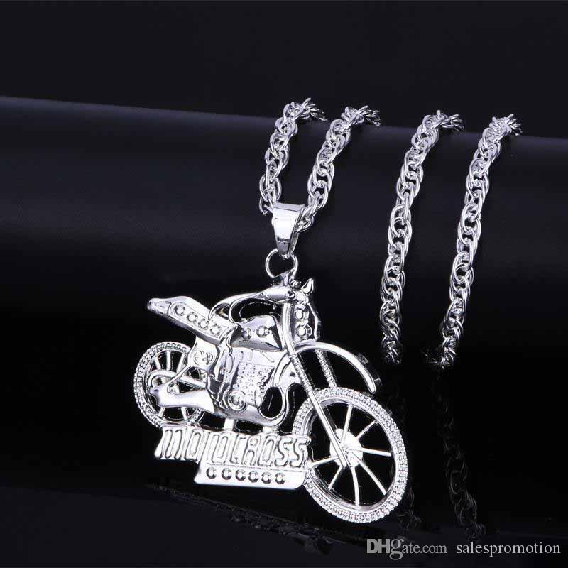Mans Vintage Gothic Ghost Rider Pendants Stainless Steel Motorcycle motor bike Pendant Necklace