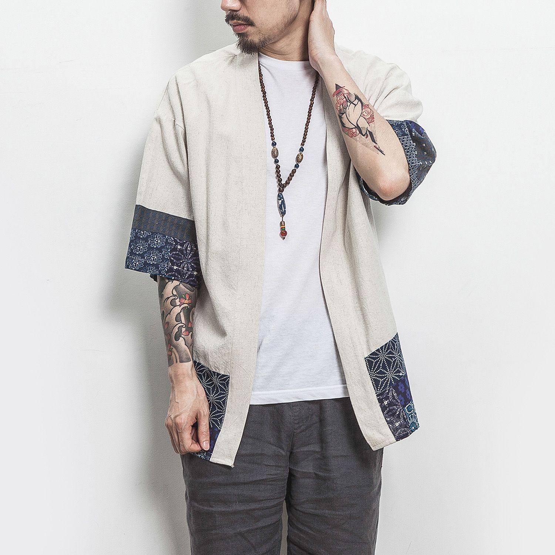 Coton Lin Veste Chemise Hommes Chinois Streetwear Kimono Shirt Manteau Grande Taille Hommes