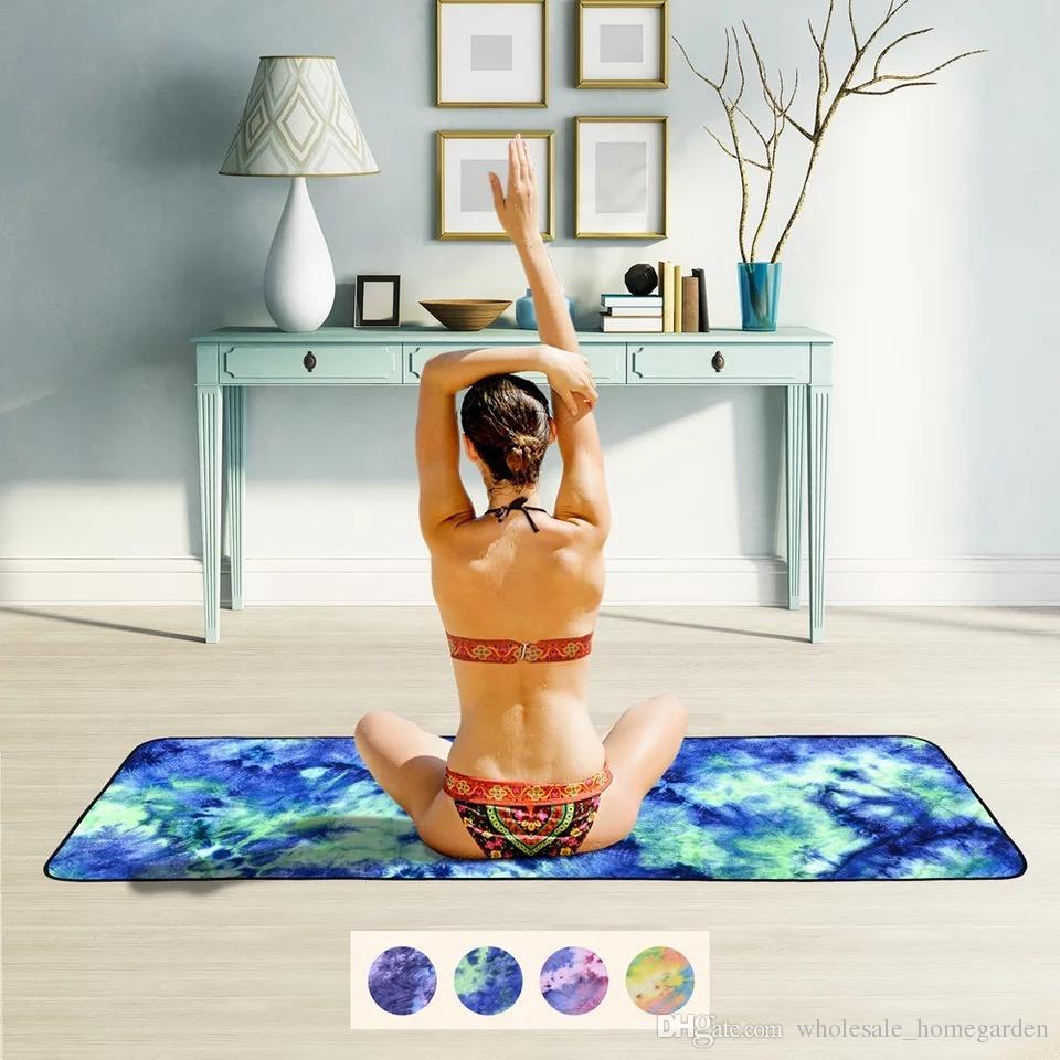 Microfiber Non Slip Yoga Towel Soft Travel Sport Fitness Exercise Yoga Pilates Mat Tie-dye Printed Blanket