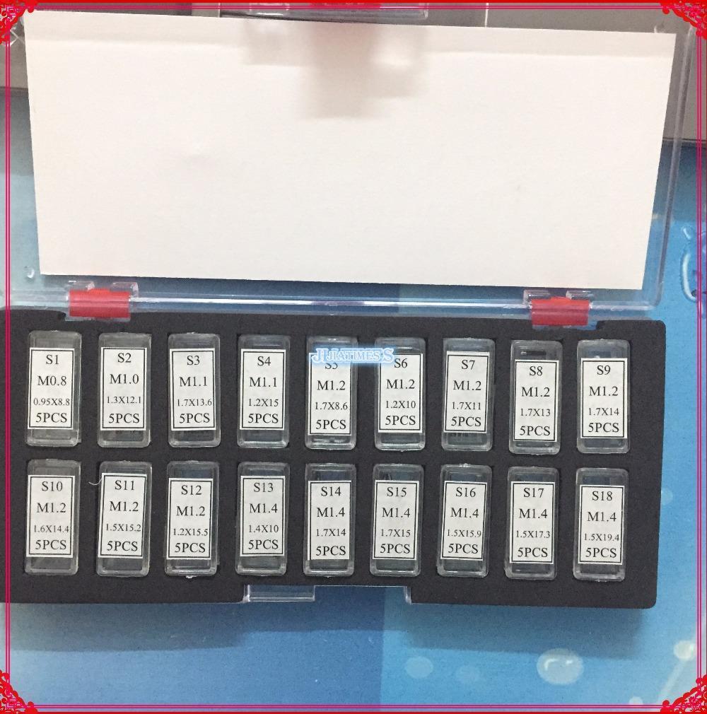 도매 - 무료 배송 1SET 핫 (90 개) 나사 핀 링크 시계 수리에 대한 설정 RLX 시계 밴드 / 팔찌 / 스트랩 모듬 크기