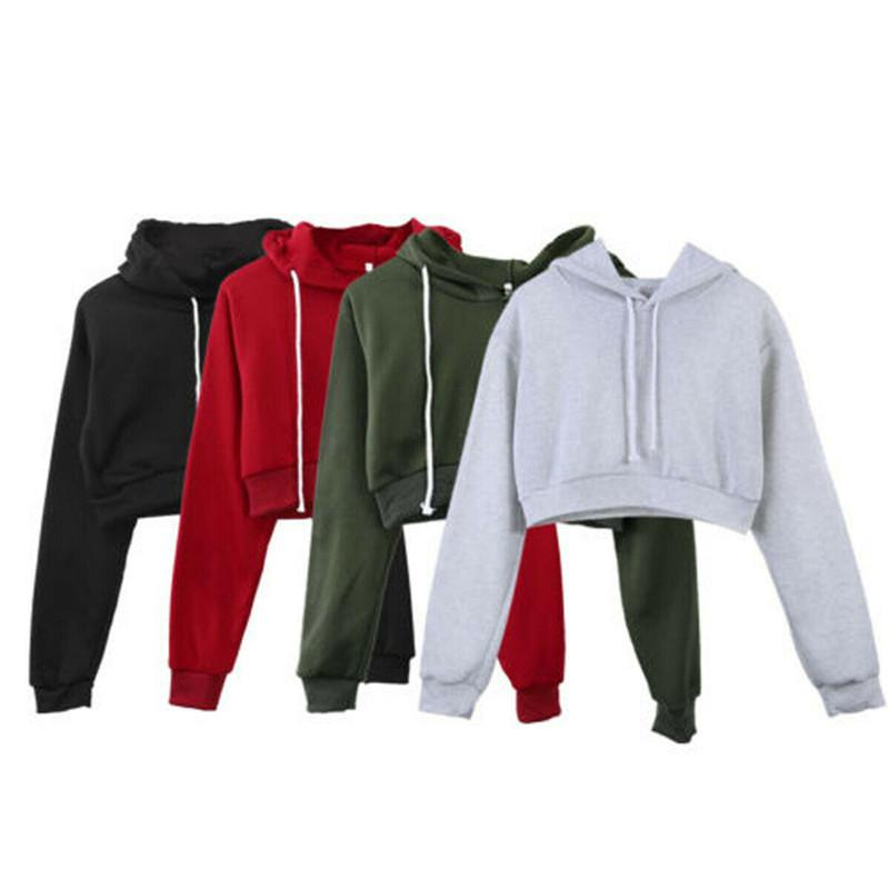 Women Crop Tops Warm Winter Autumn Casual Sport Gym Jogging Loose Hoodies Hooded Print Crop Bluza Damska Hot Newest Pullover