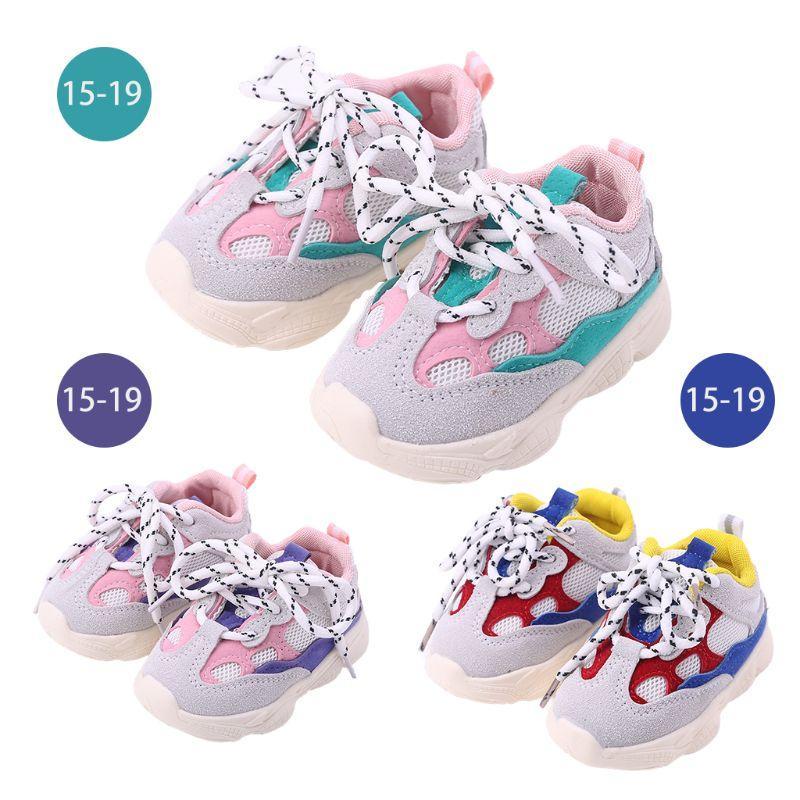 1 Çift Bebek Dantel-up Spor Ayakkabı çocuk Rahat Ayakkabılar Erkek Kız Yumuşak Kaymaz Kauçuk Tabanlar Toddler Yürüyüş Uygulama