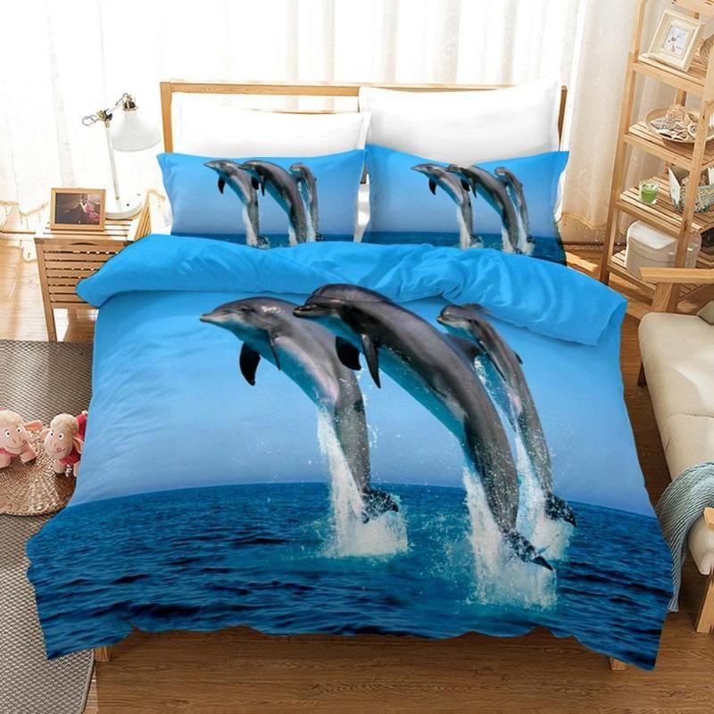 Duvet Cover 3D Dolphins Sea penguins polar bears iceberg sperm whales Bedding Sets King Queen full Twin Size 2/3pcs PillowCase